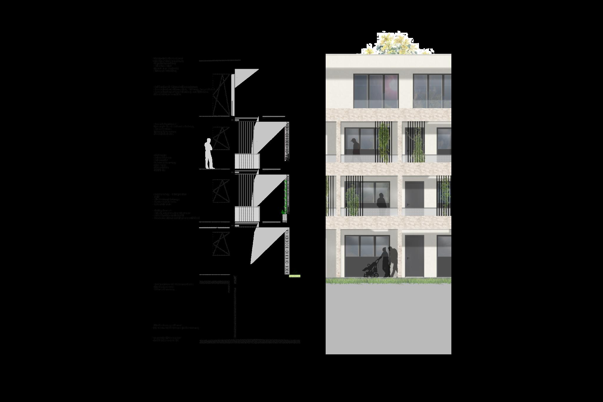 MainQuartier Volkach_Wbw_Fassadenschnitt